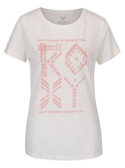 Krémové tričko s krátkým rukávem a potiskem Roxy Crewrxytribes