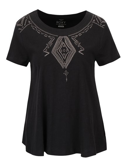 Čierne tričko s vyšitými ornamentmi Roxy Point