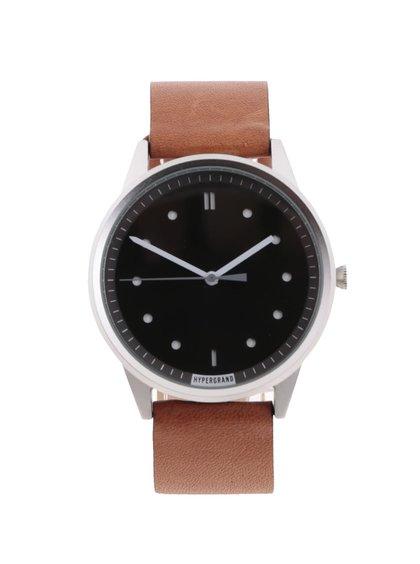 Světle hnědé pánské kožené hodinky s černým ciferníkem HYPERGRAND