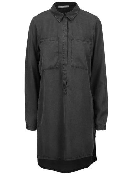 Čierna dlhšia košeľa s predĺženou zadnou časťou Noisy May Lilli