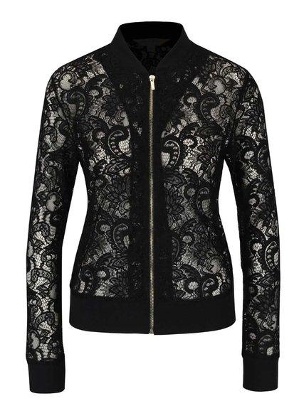 Jachetă bomber negră Miss Selfridge din dantelă