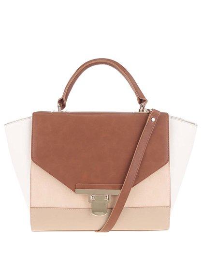 Hnědo-krémová kabelka s detaily ve zlaté barvě Miss Selfridge