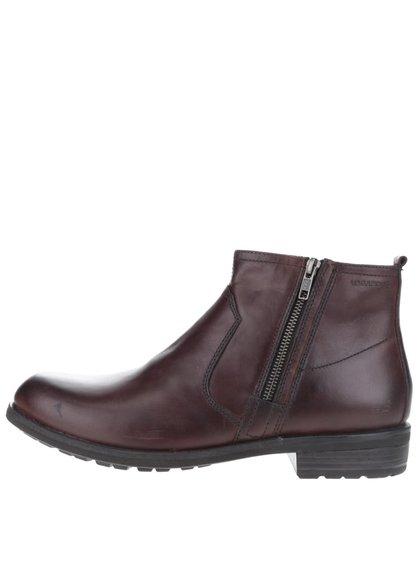 Tmavohnedé pánske kožené členkové topánky so zipsom Vagabond Lynnwood