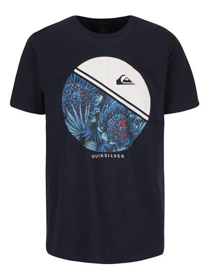 Tmavomodré pánske tričko s potlačou Quiksilver Classfree Wheell