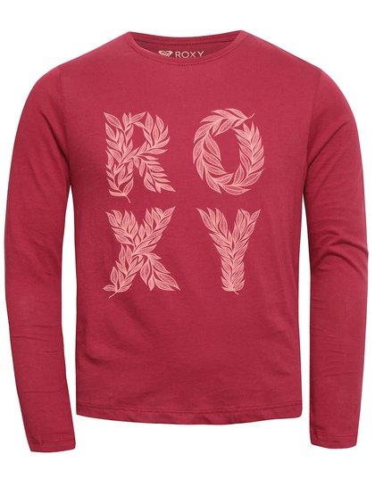 Vínové dievčenské tričko s nápisom a dlhým rukávom Roxy