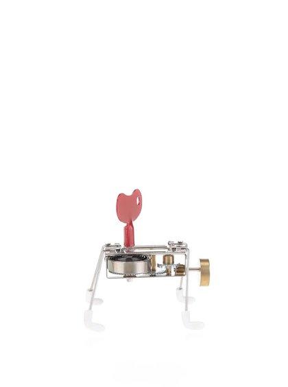 Hračka na klíček v červené barvě s bílými nožičkami SPINNEY WIND UP Kikkerland