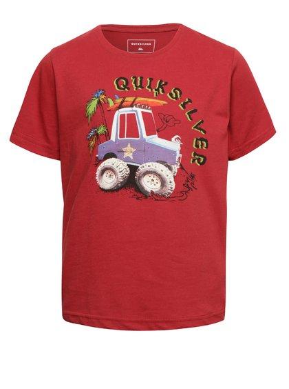 Vínová klučičí tričko s krátkým rukávem a potiskem Quiksilver