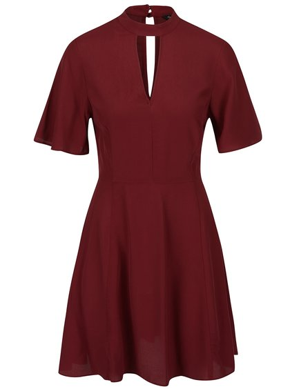 Vínové šaty s prestrihom v dekolte Miss Selfridge