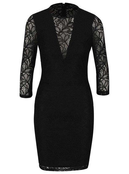 Čierne čipkované šaty s 3/4 rukávmi Miss Selfridge