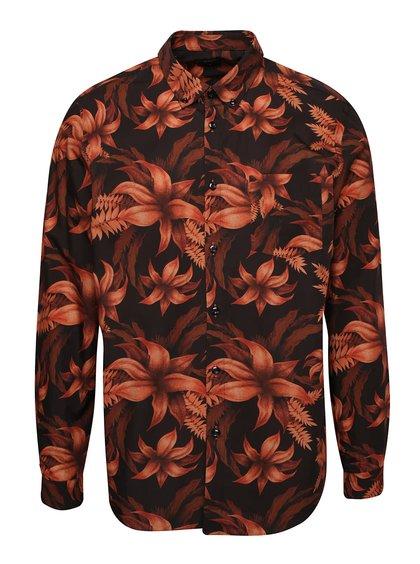 Oranžovo-čierna kvetovaná košeľa Burton Menswear London