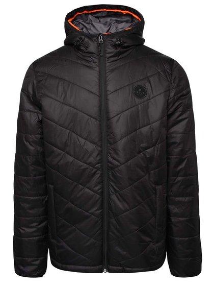Čierna pánska prešívaná bunda s kapucňou Rip Curl Melt Anti Insulated