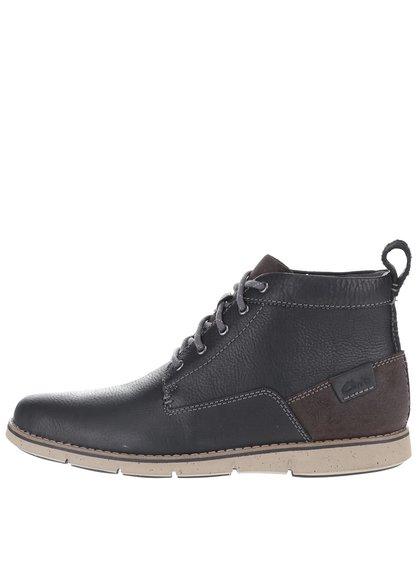 Čierne pánske kožené členkové topánky Clarks Kyston