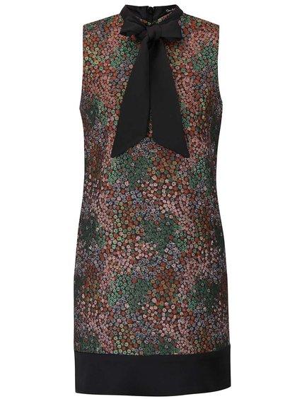 Zeleno-hnědé vzorované šaty bez rukávů Miss Selfridge