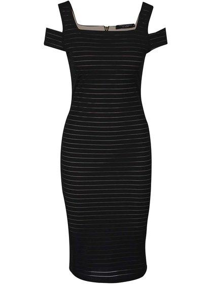 Černé pruhované šaty s průstřihy na ramenou Dorothy Perkins