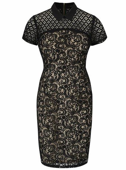 Béžovo-čierne čipkované šaty s golierom Dorothy Perkins
