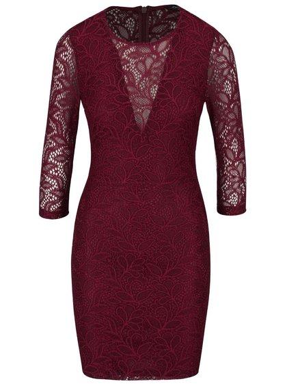 Vínové krajkové šaty s 3/4 rukávy Miss Selfridge