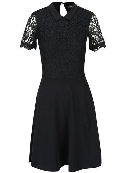 Černé šaty s krajkou a límečkem Dorothy Perkins