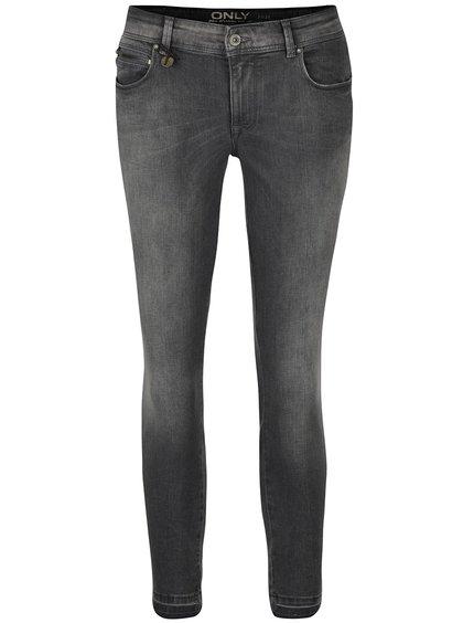 Tmavě šedé vyšisované skinny džíny ONLY Carmen