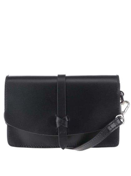 Černá kožená crossbody kabelka s ozdobným páskem Clarks Rigo Hope