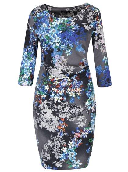 Sivé kvetované šaty so zipsom a 3/4 rukávmi Smashed Lemon