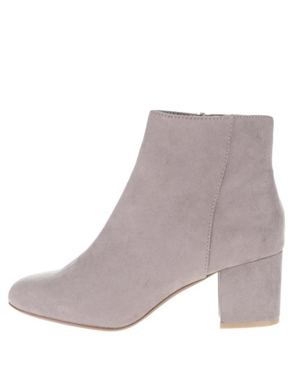 Šedé kotníkové boty na podpatku Dorothy Perkins