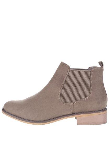Hnědé kotníkové chelsea boty v semišové úpravě Dorothy Perkins
