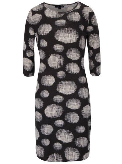 Čierne vzorované svetrové šaty s 3/4 rukávmi Smashed Lemon