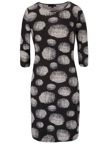 Černé vzorované svetrové šaty s 3/4 rukávy Smashed Lemon