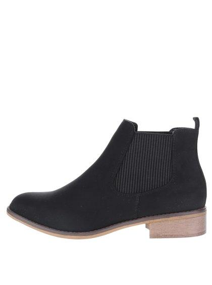 Černé kotníkové chelsea boty v semišové úpravě Dorothy Perkins