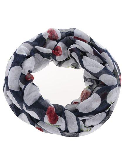 Modrý dutý šátek s putntíky Madonna Rose