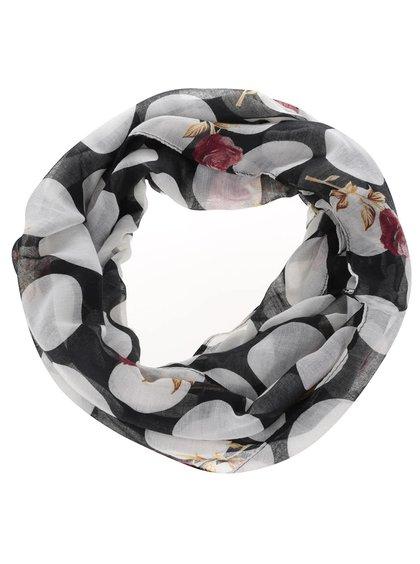 Čierna tunelová šatka s bodkami Madonna Rose