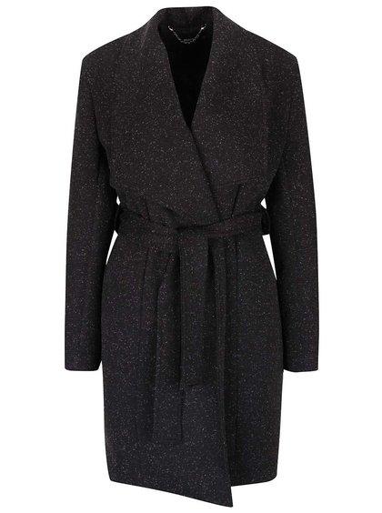 Tmavě šedý kabát s páskem a drobným vzorováním Alchymi Devosa