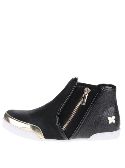 Čierne členkové topánky s detailmi v zlatej farbe Butterfly Twists Alexis