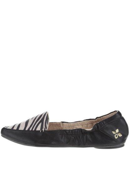 Čierne baleríny so zebrím vzorom do kabelky Butterfly Twists Amber