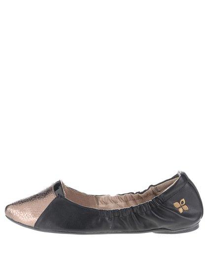 Černé balerínky se špičkou ve zlaté barvě do kabelky Butterfly Twists Imogen