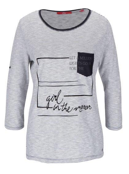 Modro-bílé dámské pruhované tričko s potiskem s.Oliver