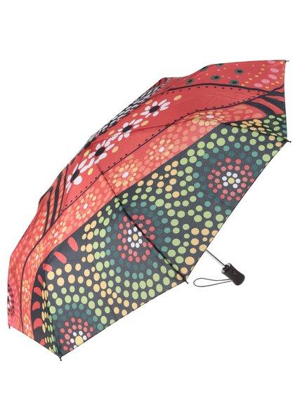 Oranžový vzorovaný deštník Desigual Lluka