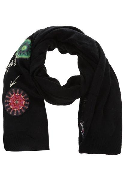 Čierny šál s farebnými vzormi Desigual Yeah!!!