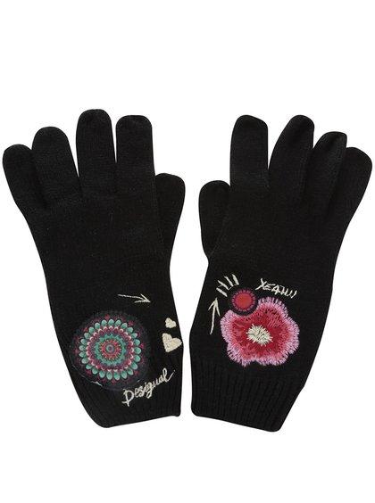 Černé rukavice s barevným vzorem Desigual Yeah!!!