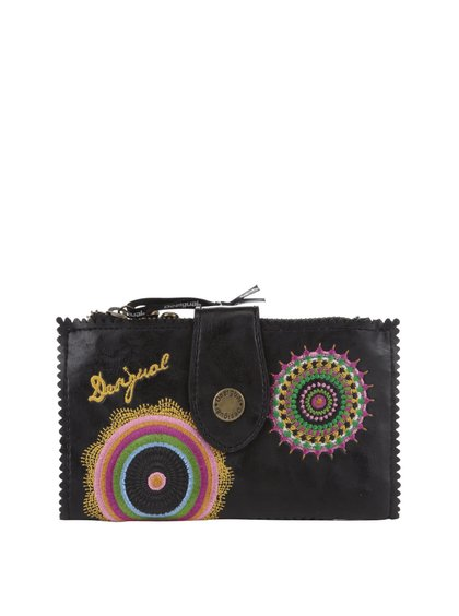 Čierna koženková peňaženka s vyšitými kvetmi Desigual Basic Audrey