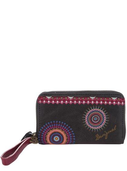 Čierna koženková peňaženka s výšivkou Desigual Mini Greta