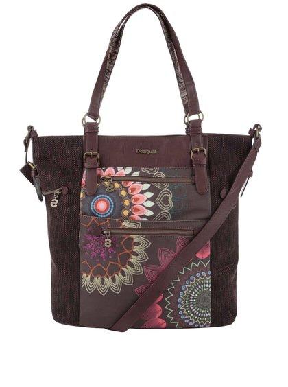Hnedá väčšia kabelka s farebnou potlačou Desigual Argentina Dakota