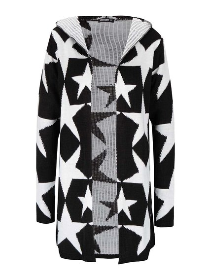Cardigan negru Haily´s Starry cu model stele crem