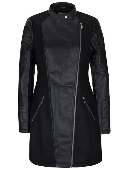 Palton negru Desires Gedion cu detalii piele sintetică