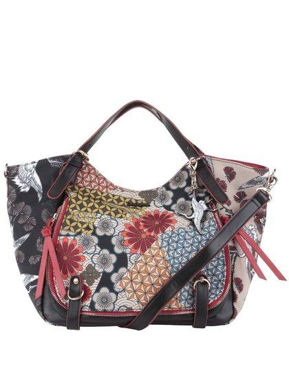 Béžovo-černá kabelka s barevnými květy Desigual Japan Fresh