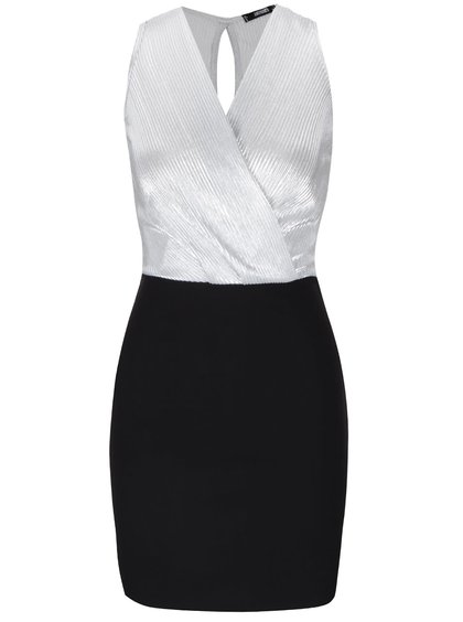 Černé šaty s překládaným topem ve stříbrné barvě Haily´s Shirley