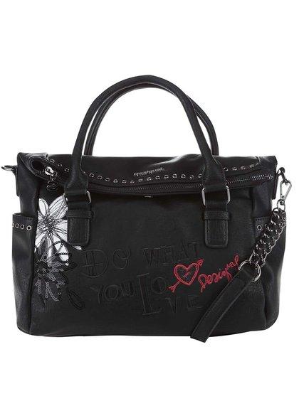 Čierna kabelka s bielymi kvetmi Desigual Liberty Black Daisy