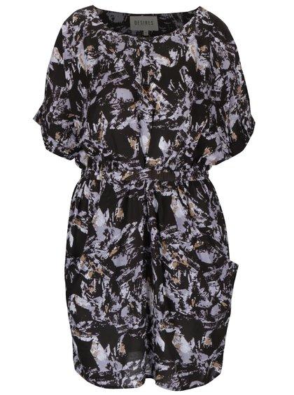Fialovo-čierne vzorované šaty Desires Gulla