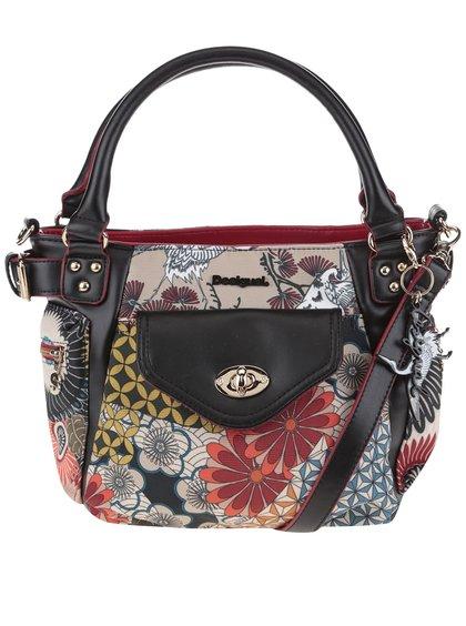 Béžovo-čierna kabelka s farebnou potlačou a vreckami Desigual McBee Mini Japan Fresh