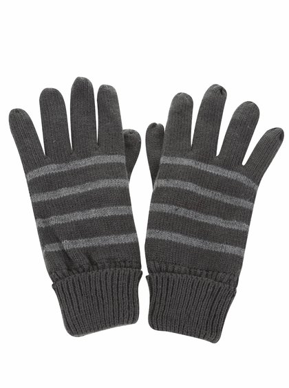 Sivé pruhované rukavice Blend